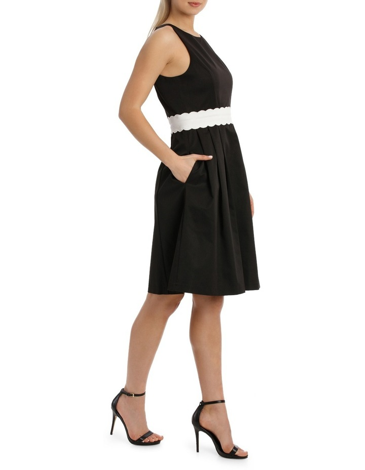 Fit And Flare Scallop Detail Waistand Dress image 2