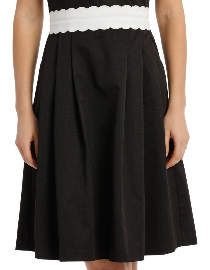 Fit And Flare Scallop Detail Waistand Dress image 4