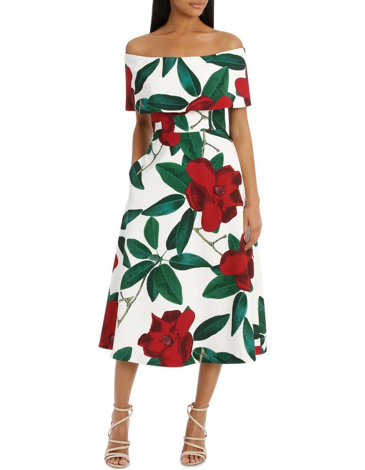 'Floral Allure Dark Rose' Off Shoulder Dress image 1