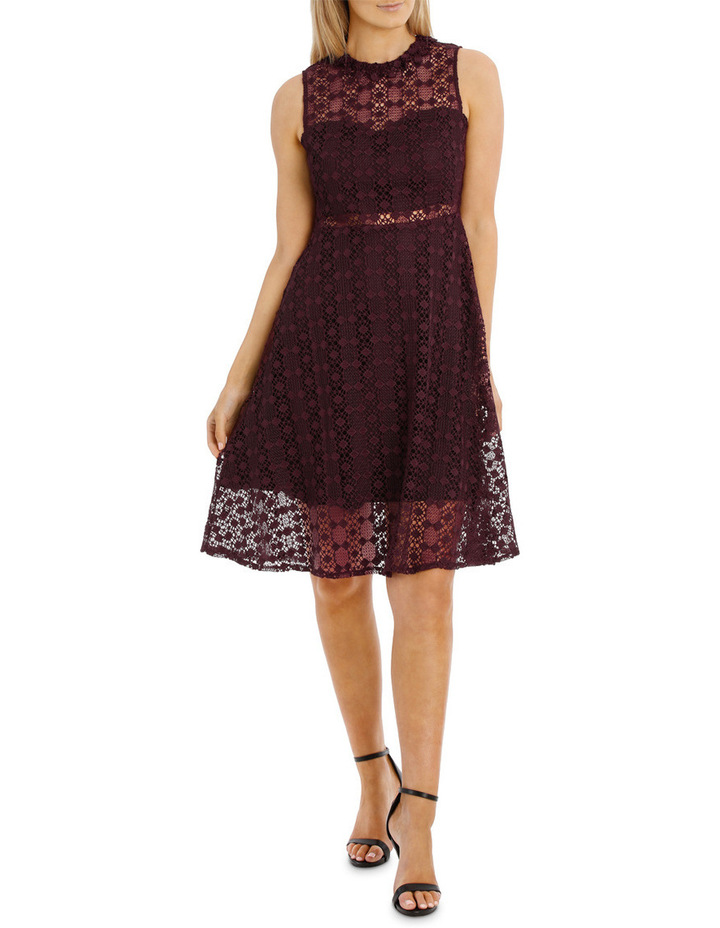 Grenache High Neck Fit And Flare Lace Dress image 1
