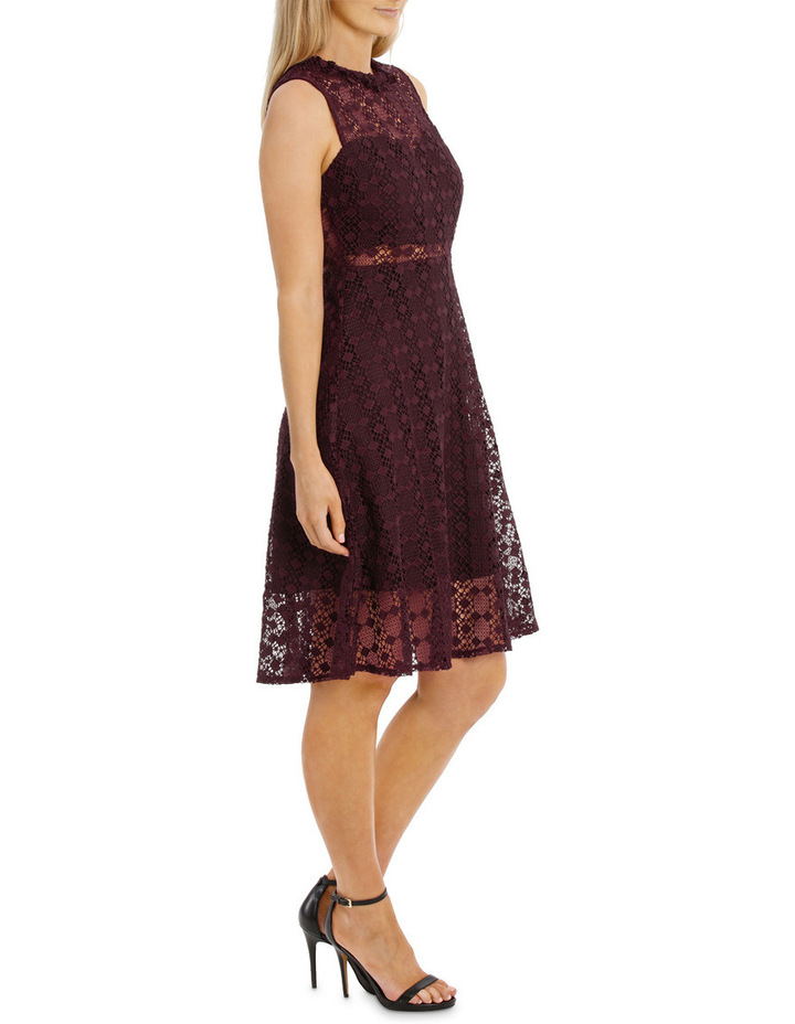 Grenache High Neck Fit And Flare Lace Dress image 2