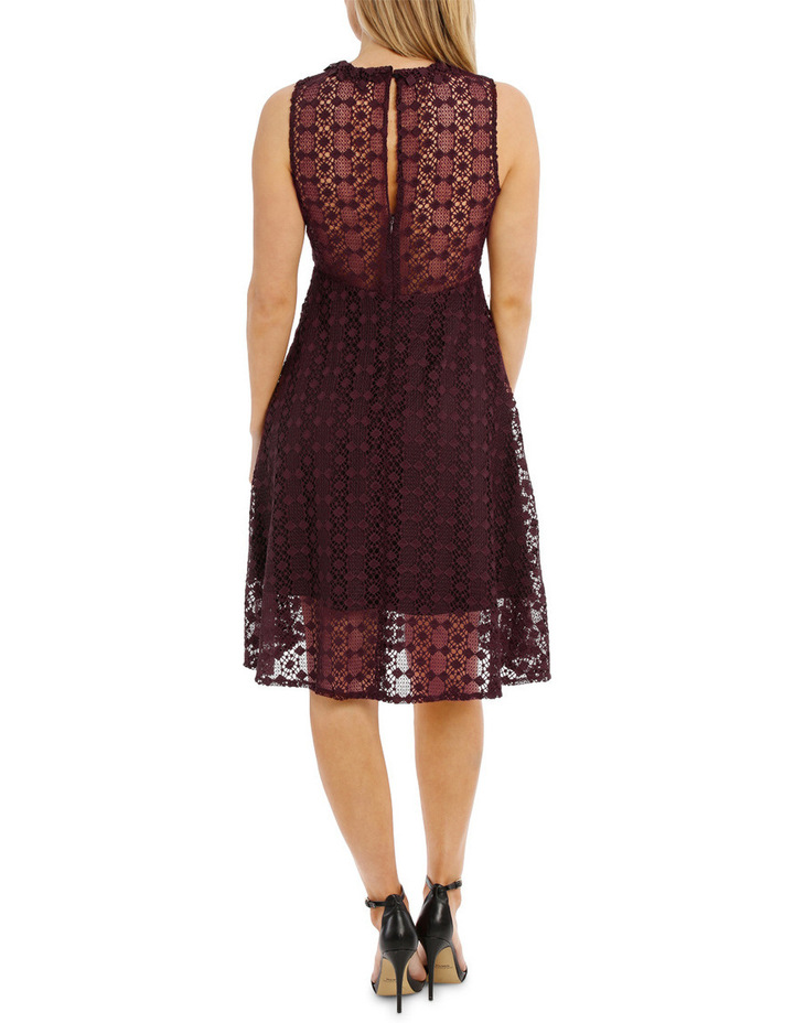 Grenache High Neck Fit And Flare Lace Dress image 3