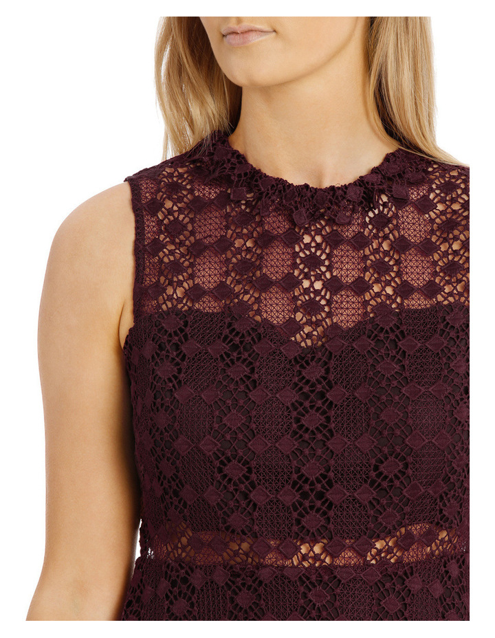 Grenache High Neck Fit And Flare Lace Dress image 4