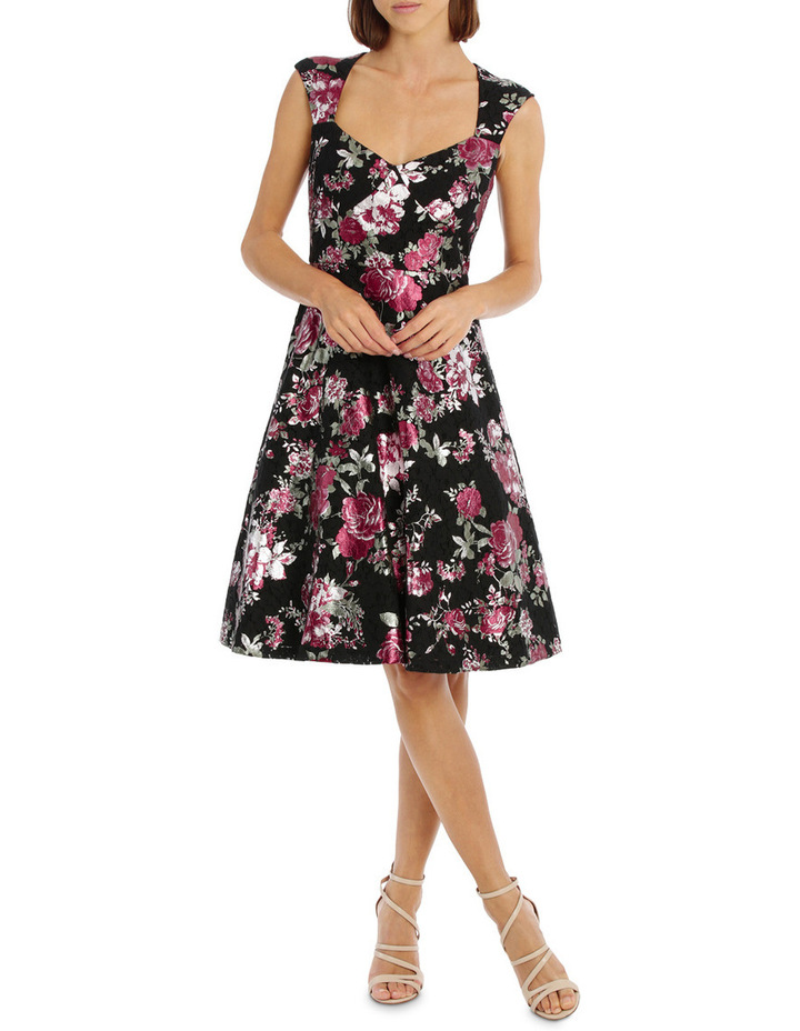 Metallic Rose Lace Fit And Flare Dress image 1