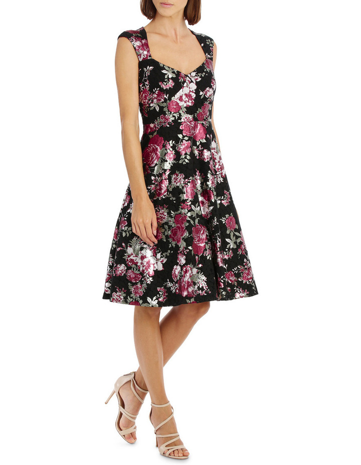 Metallic Rose Lace Fit And Flare Dress image 2