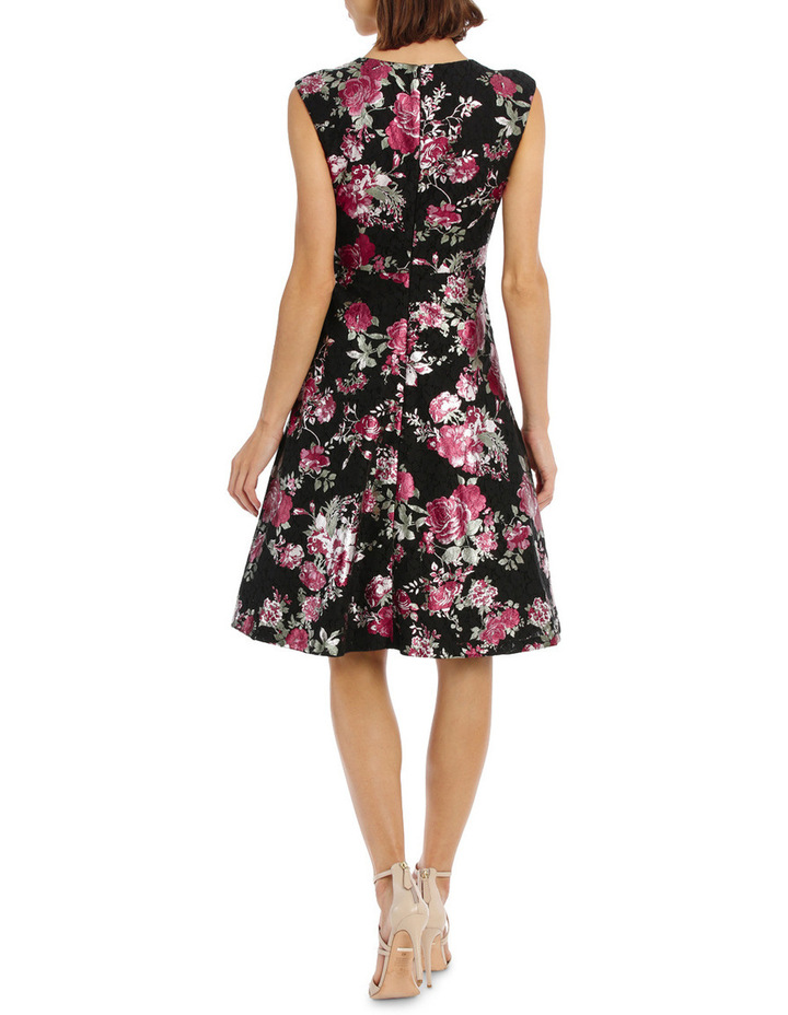 Metallic Rose Lace Fit And Flare Dress image 3