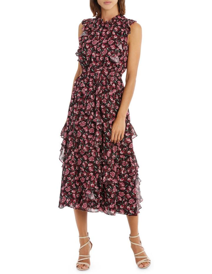 Tea Rose Dark Base High Neck Midi Ruffle Dress image 1