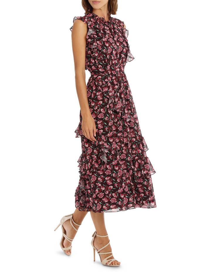 Tea Rose Dark Base High Neck Midi Ruffle Dress image 2
