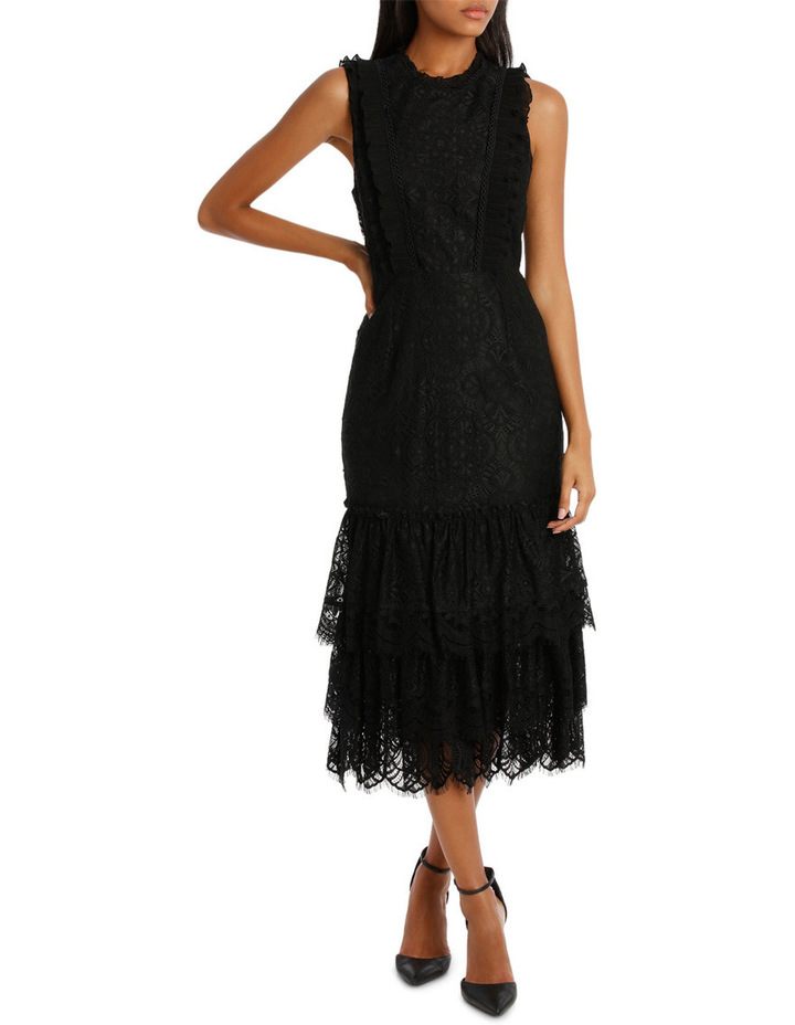 Black High Neck Lace Tiered Midi Dress image 1