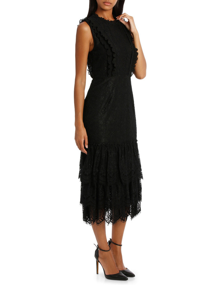 Black High Neck Lace Tiered Midi Dress image 2