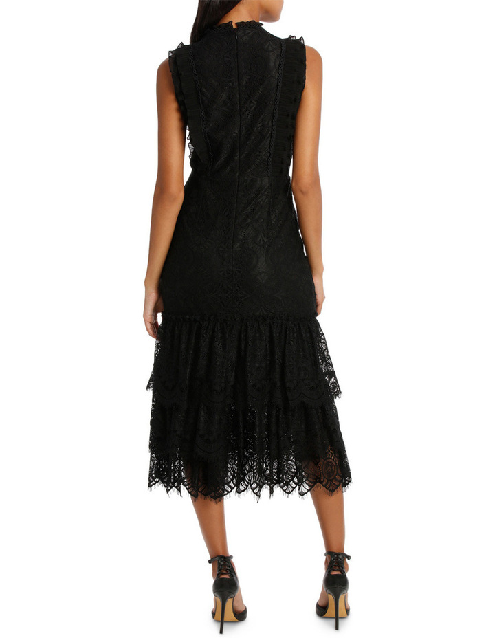 Black High Neck Lace Tiered Midi Dress image 3