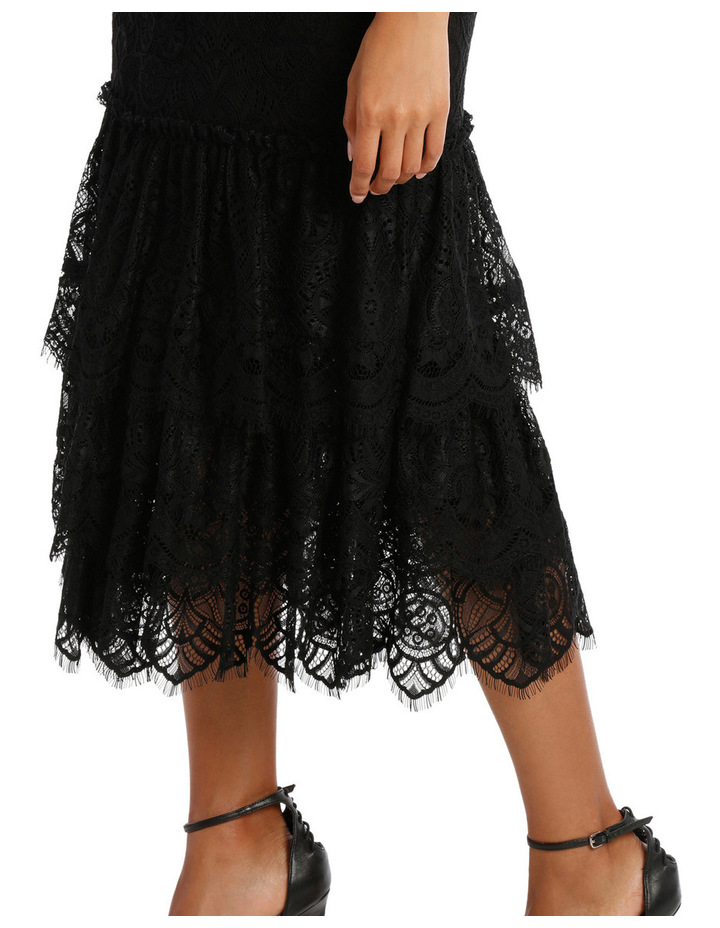Black High Neck Lace Tiered Midi Dress image 4