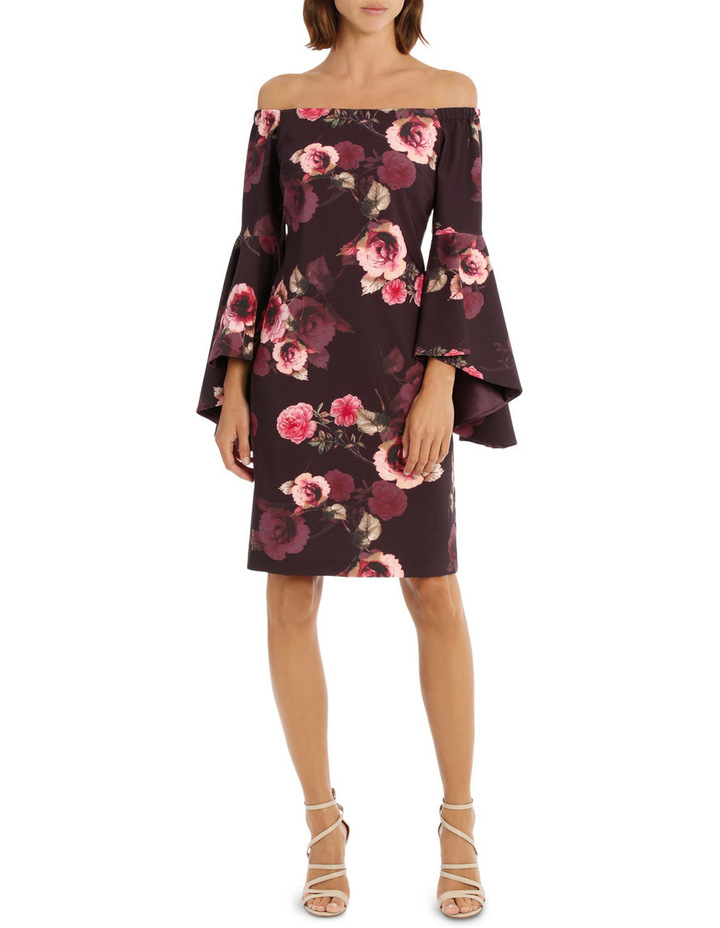 Off-Shoulder Grenache Shadow Rose Dress image 1