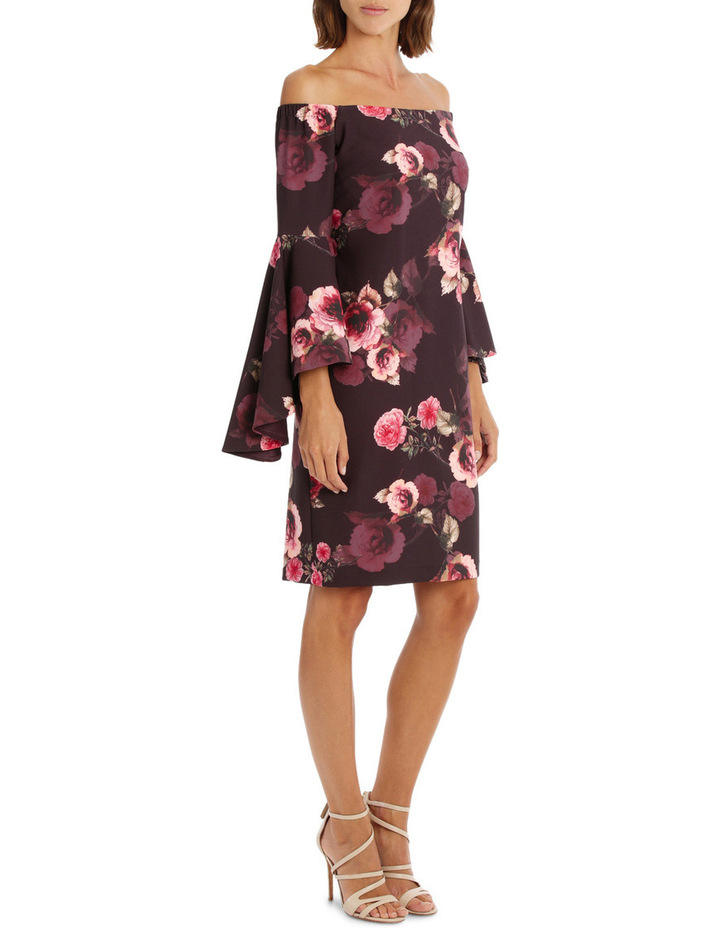 Off-Shoulder Grenache Shadow Rose Dress image 2