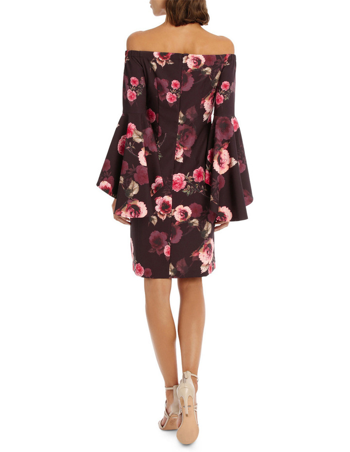 Off-Shoulder Grenache Shadow Rose Dress image 3