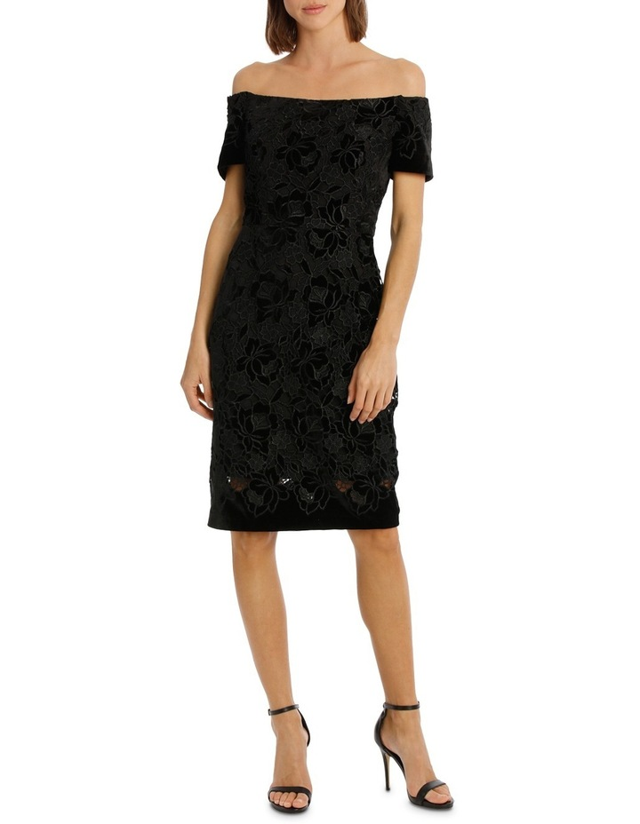 Off The Shoulder Black Lace Velvet Shift Dress image 1