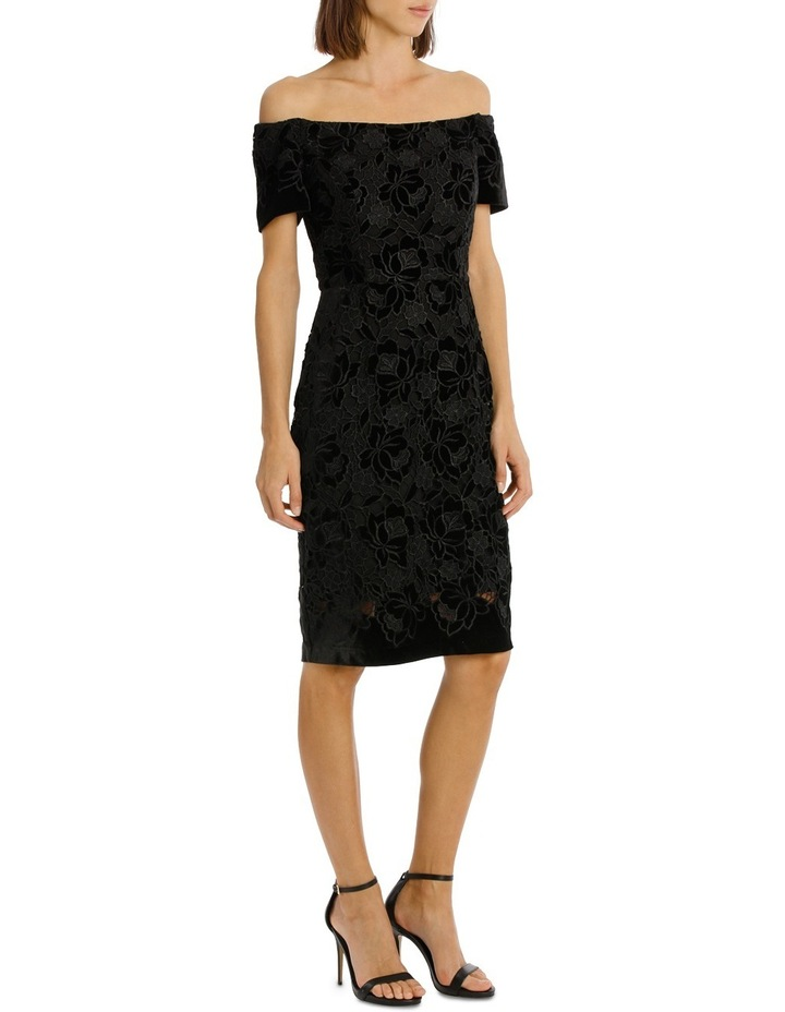 Off The Shoulder Black Lace Velvet Shift Dress image 2