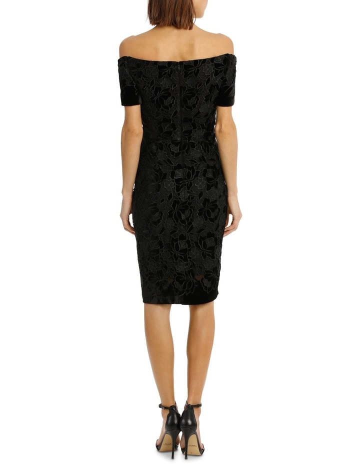 Off The Shoulder Black Lace Velvet Shift Dress image 3