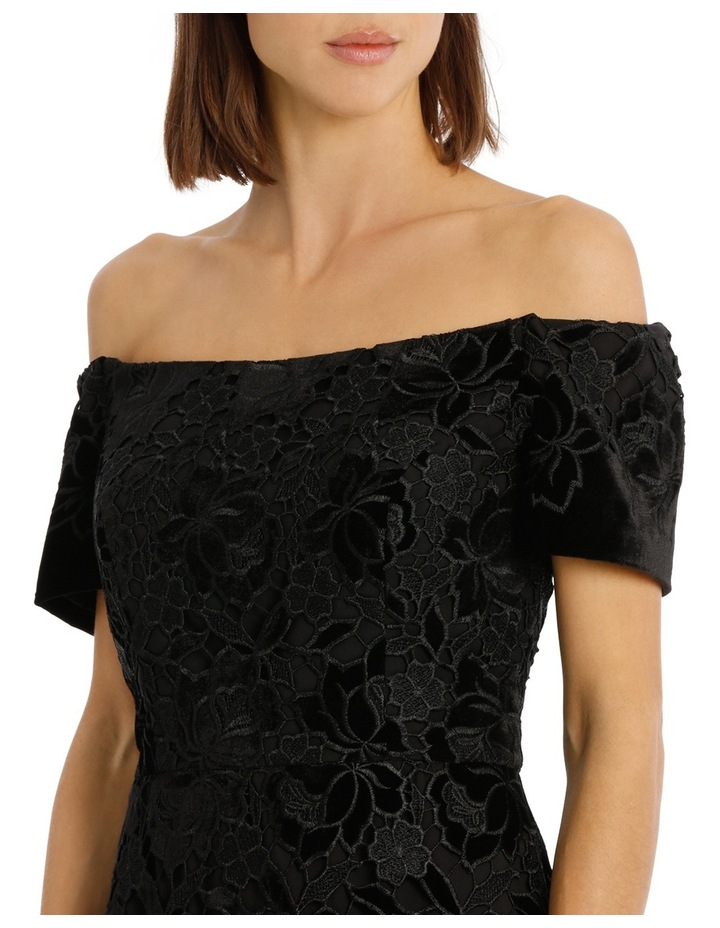 Off The Shoulder Black Lace Velvet Shift Dress image 4