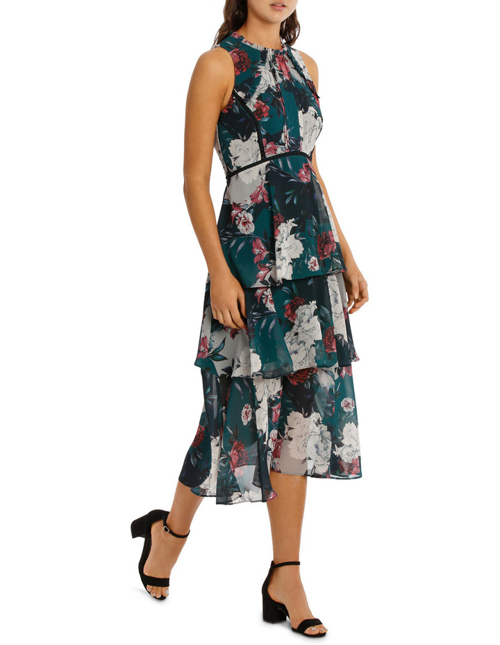 Jade Spliced Floral Lace Insert Ruffle Dress image 2