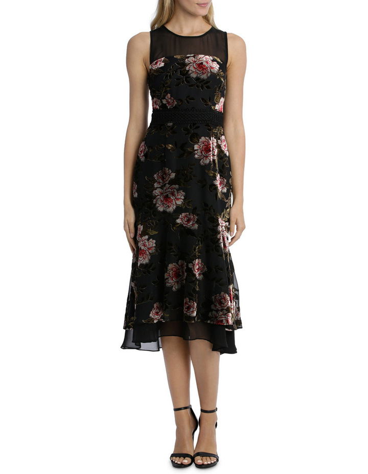 Rose Velvet Burnout Flounce Dress image 1