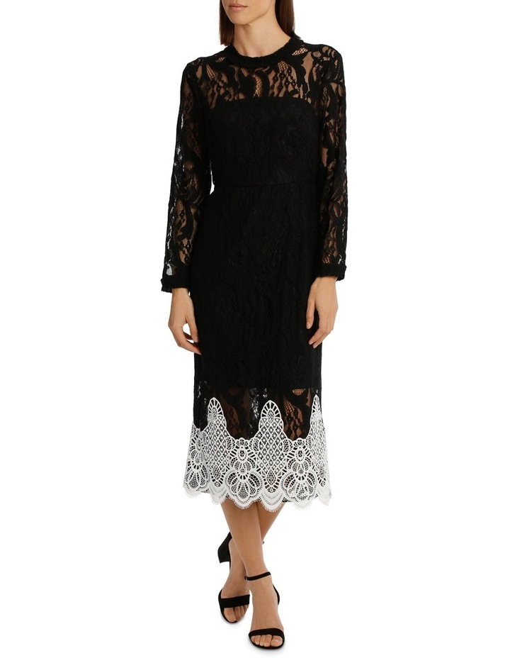 High Neck Black Lace Dress With Applique image 1