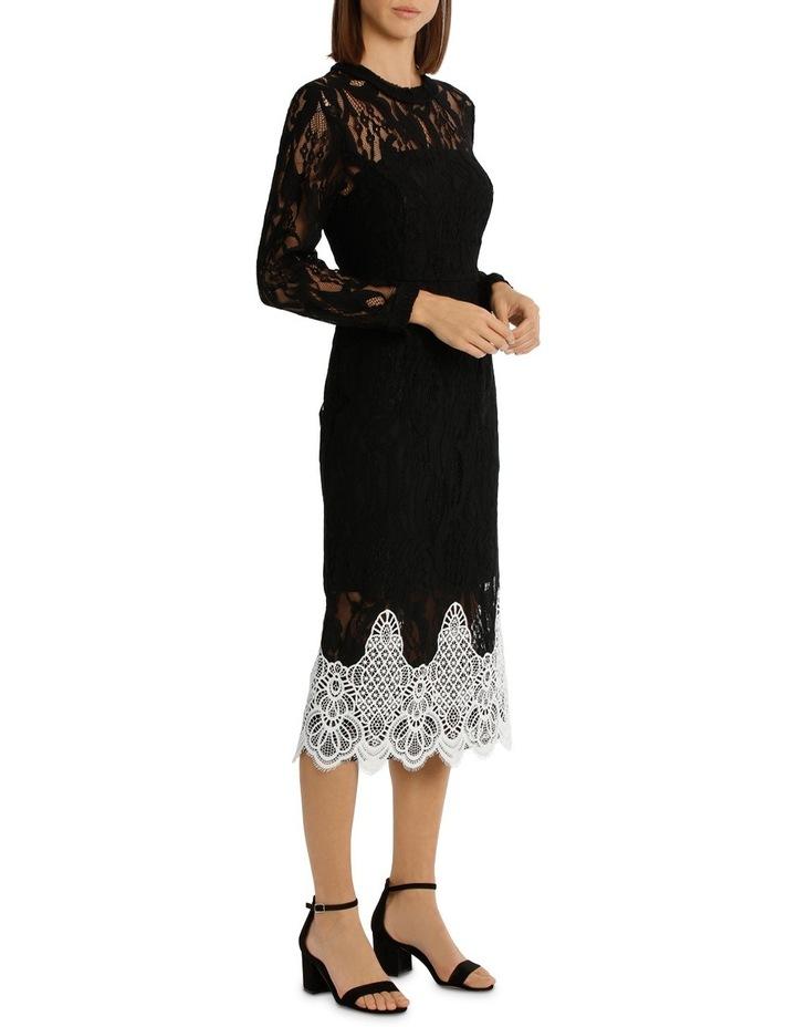 High Neck Black Lace Dress With Applique image 2