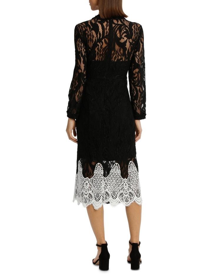 High Neck Black Lace Dress With Applique image 3