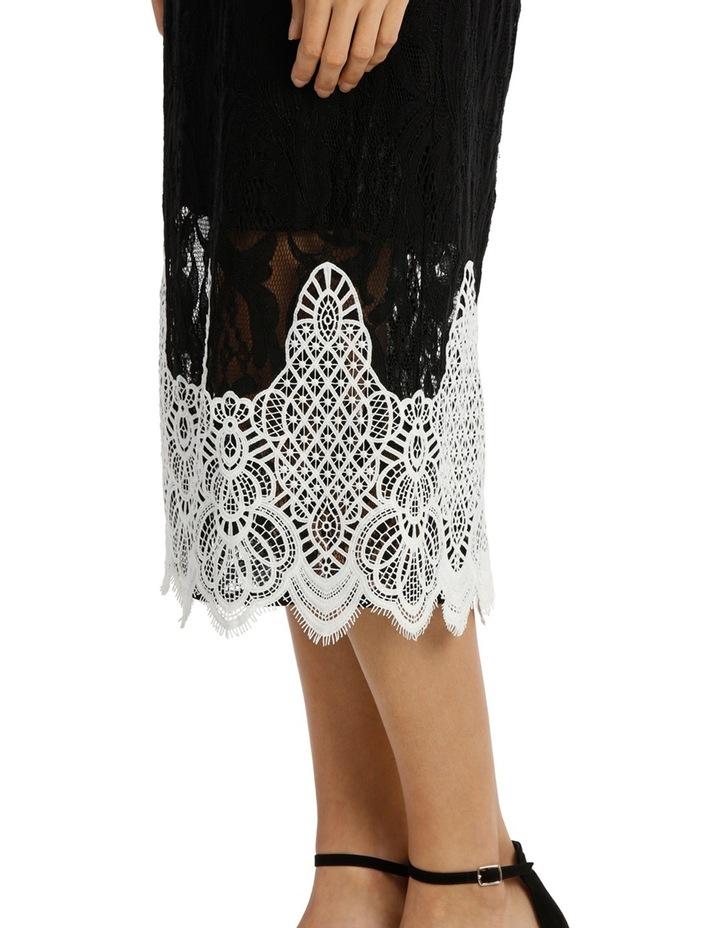 High Neck Black Lace Dress With Applique image 4