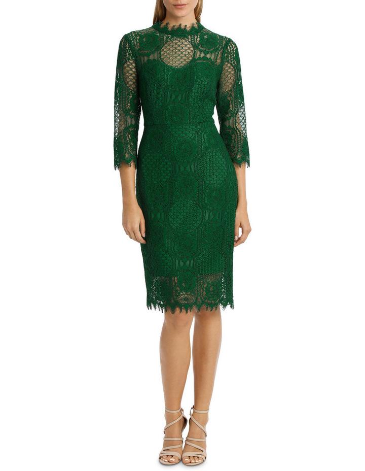 Green Circular 3/4 Sleeve  Lace Dress image 1