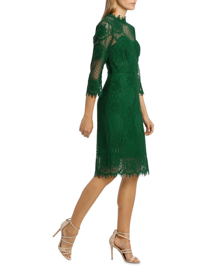 Green Circular 3/4 Sleeve  Lace Dress image 2