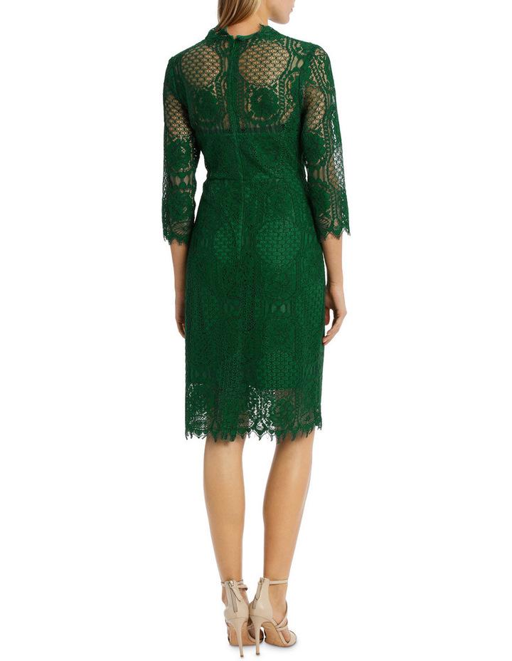 Green Circular 3/4 Sleeve  Lace Dress image 3