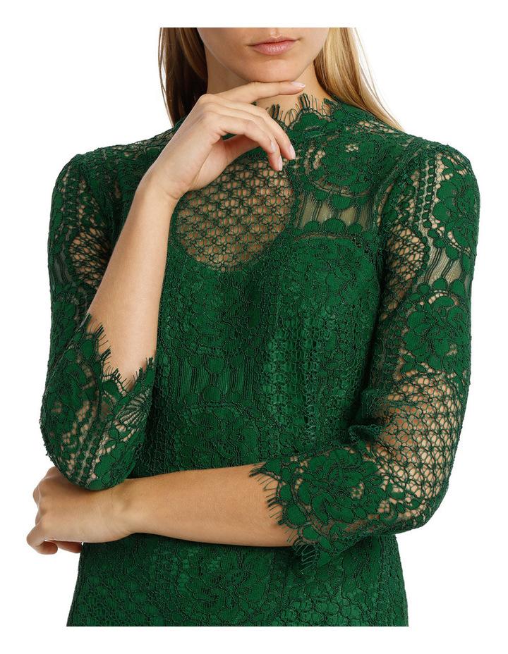 Green Circular 3/4 Sleeve  Lace Dress image 4