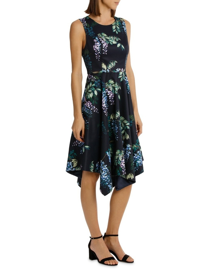 Dark Wisteria Fit And Flare Handerchief Hem Dress image 2