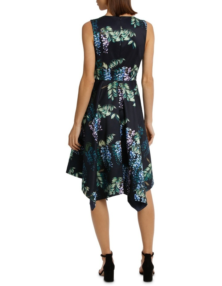 Dark Wisteria Fit And Flare Handerchief Hem Dress image 3
