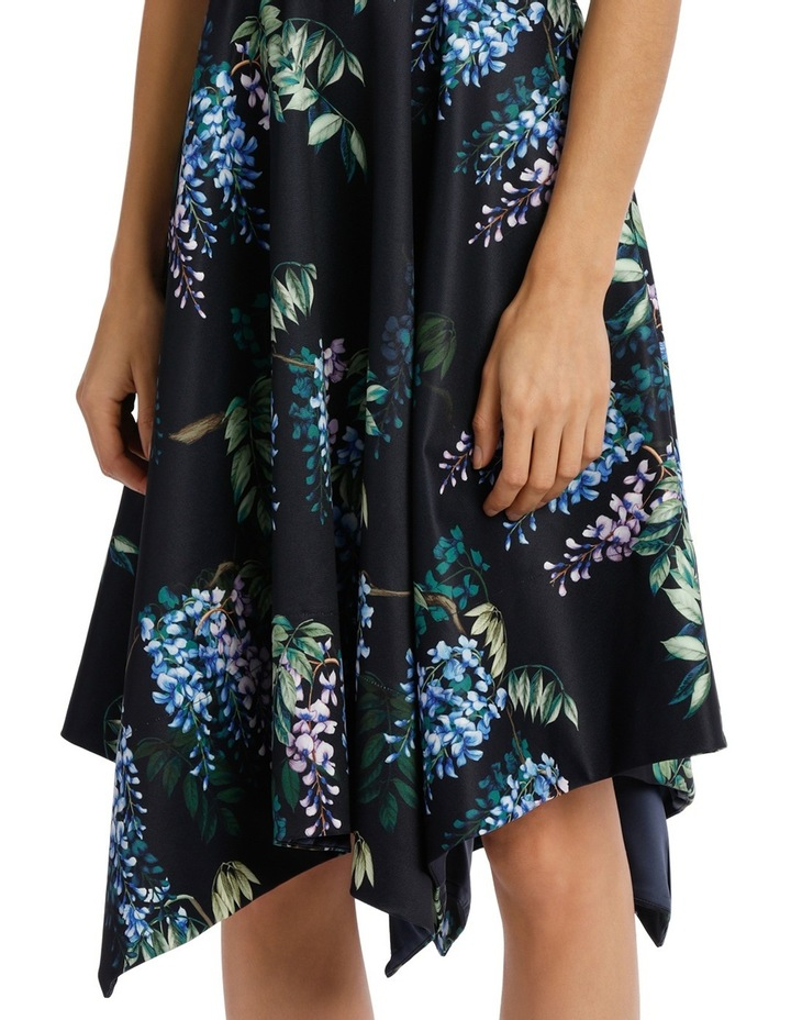 Dark Wisteria Fit And Flare Handerchief Hem Dress image 4