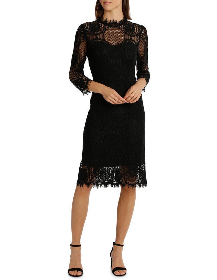 Black Circular 3/4 Sleeve  Lace Shift Dress image 1