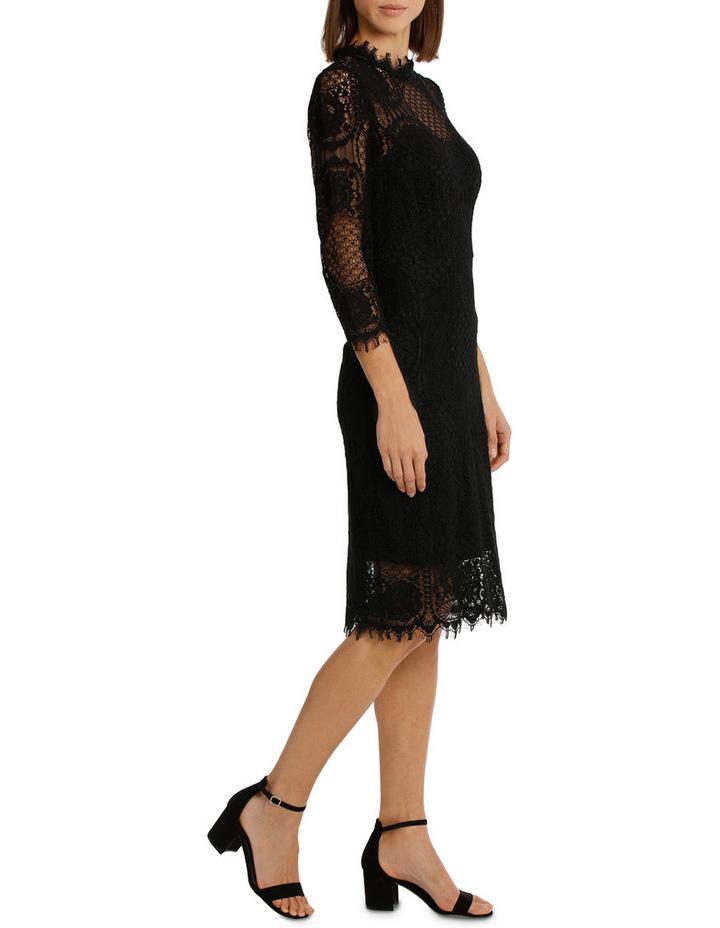 Black Circular 3/4 Sleeve  Lace Shift Dress image 2