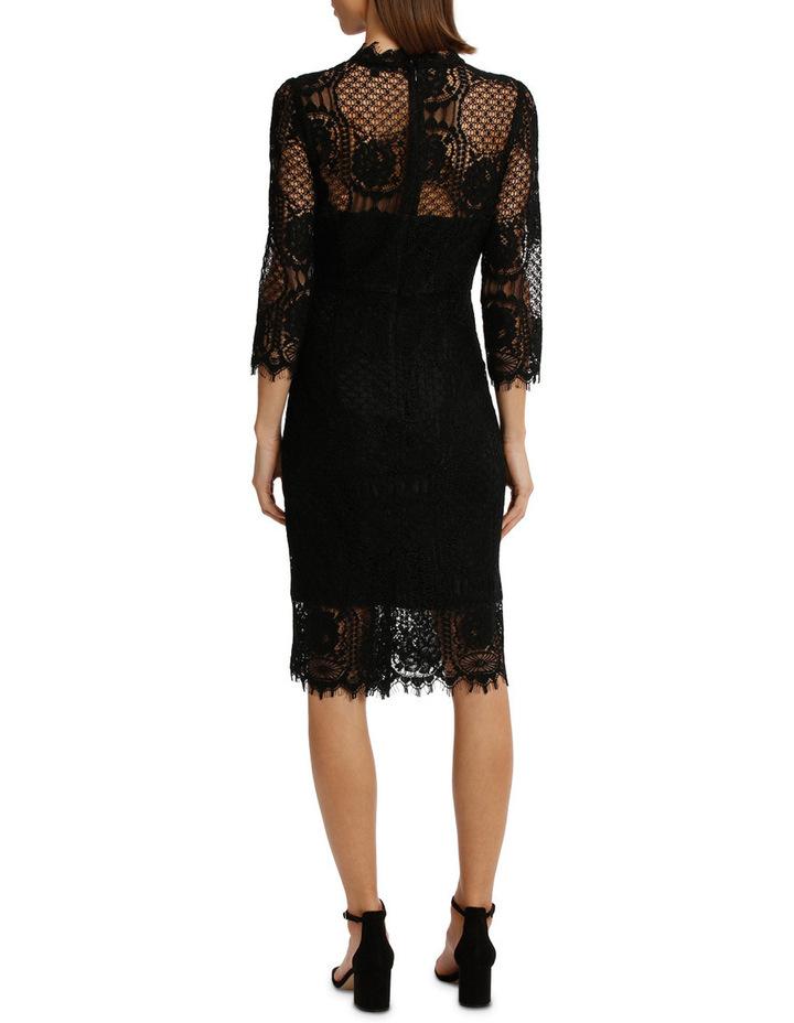 Black Circular 3/4 Sleeve  Lace Shift Dress image 3