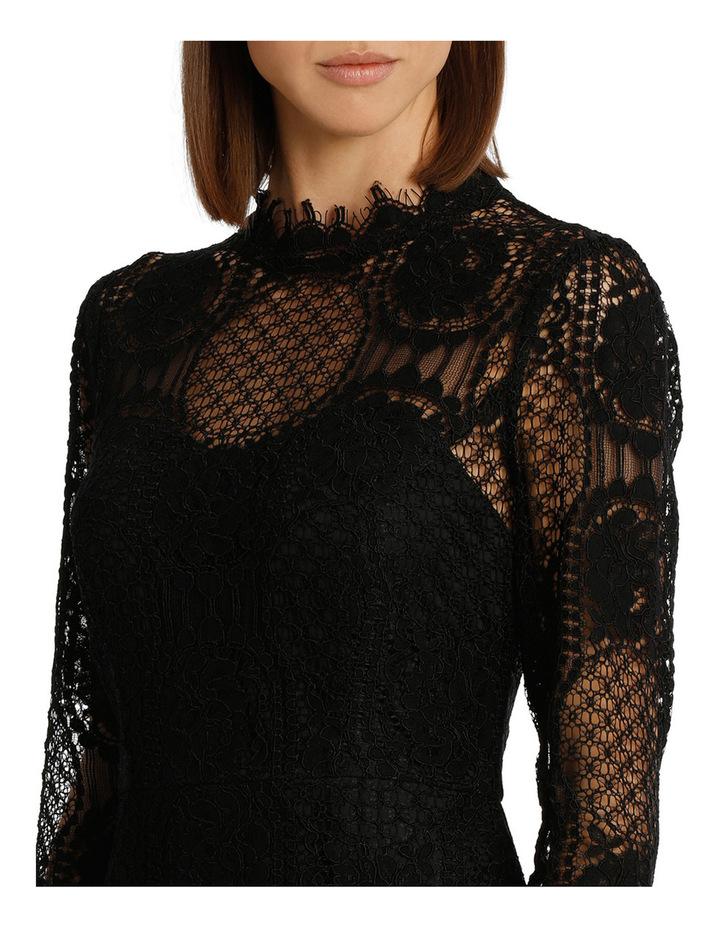 Black Circular 3/4 Sleeve  Lace Shift Dress image 4