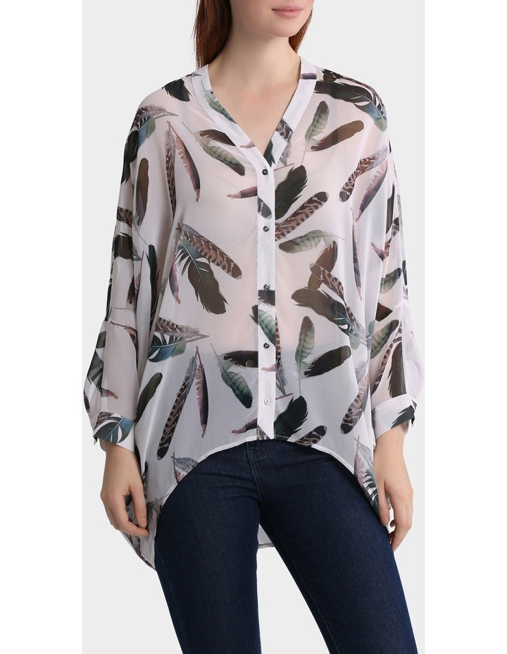 Feather Print Oversized Batwing Top image 1