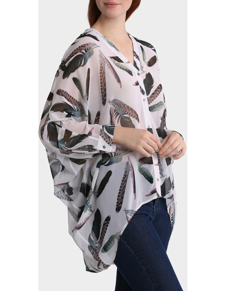 Feather Print Oversized Batwing Top image 2