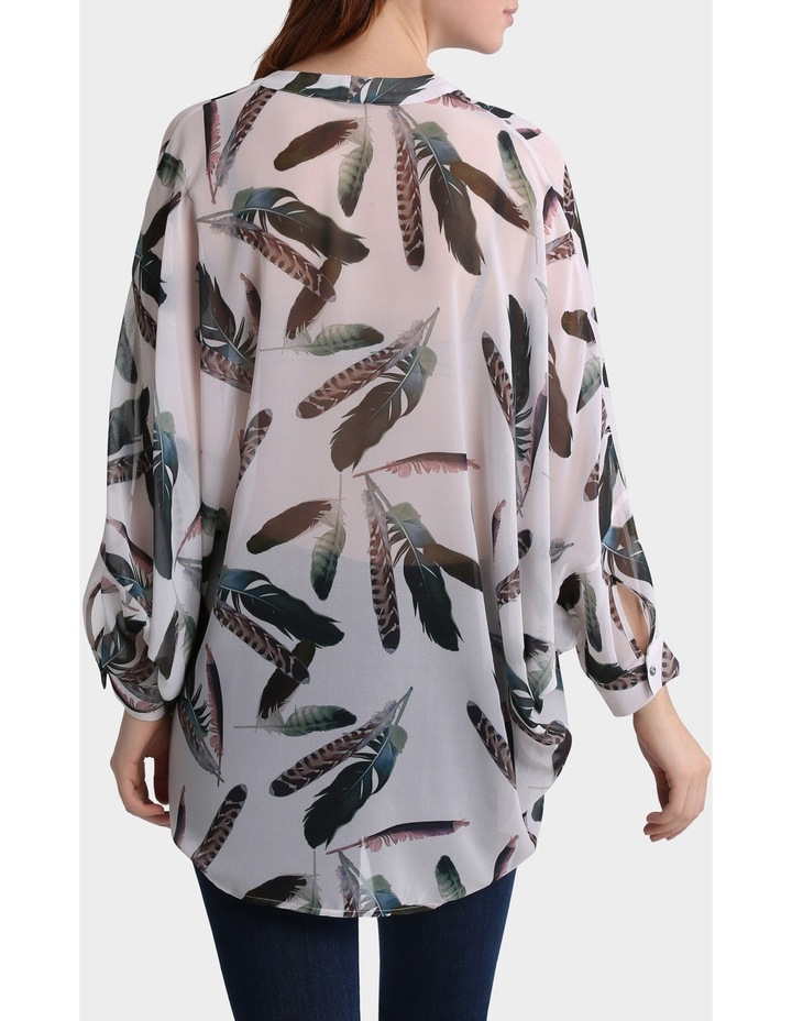 Feather Print Oversized Batwing Top image 3