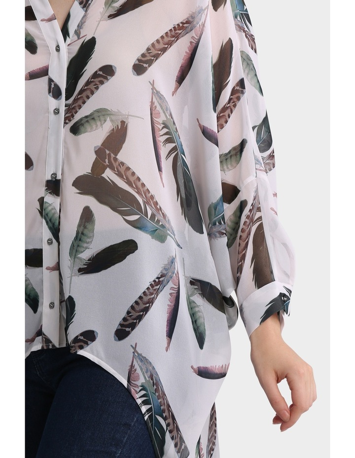 Feather Print Oversized Batwing Top image 4