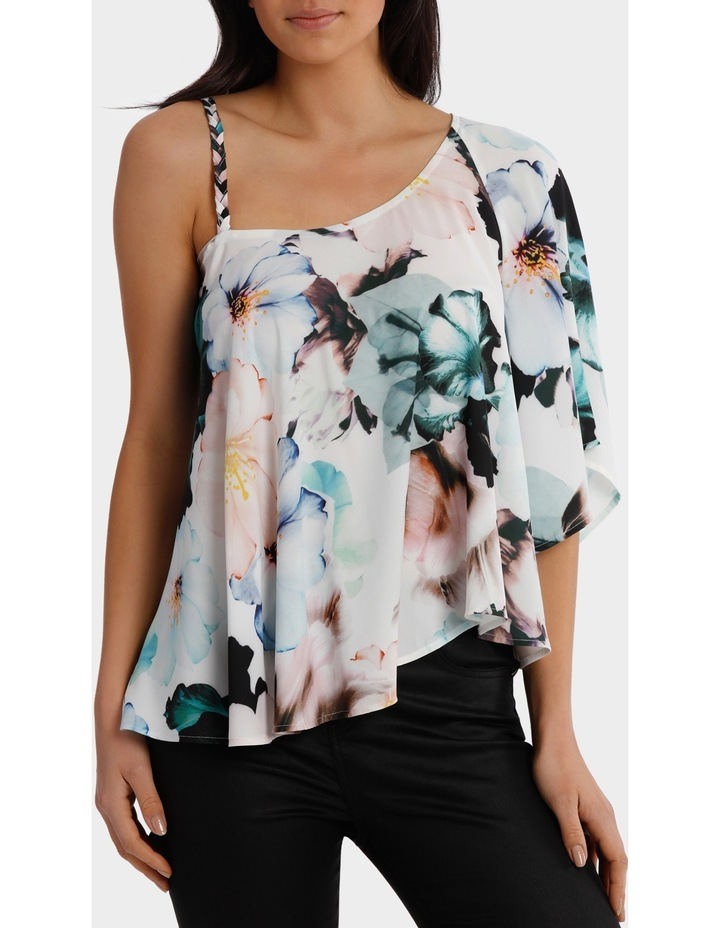 One Shoulder Zinnia Print Top image 1