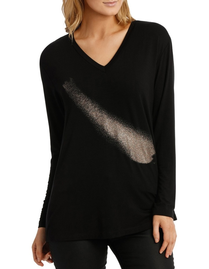 Black Long Sleeve Bling Tee image 1