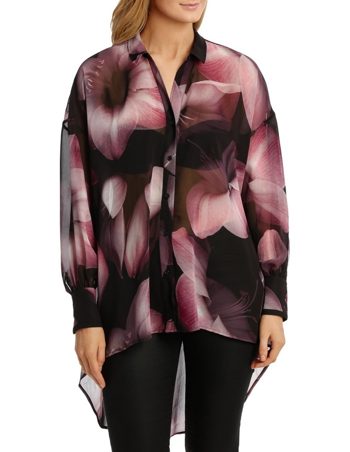Shadow Floral Oversize Long Line Shirt image 1
