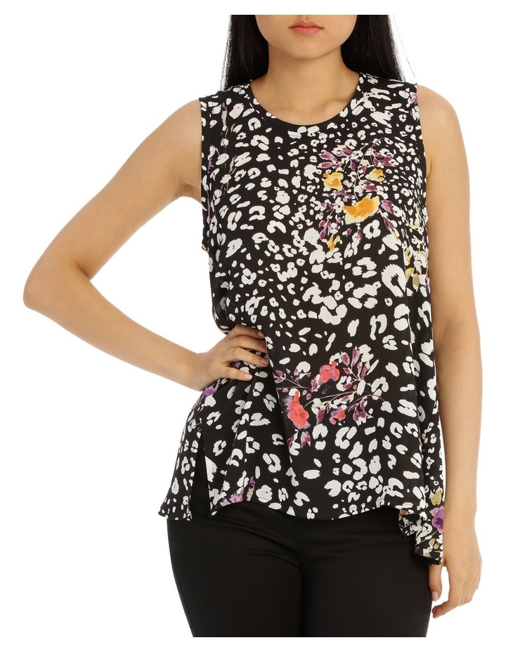 Black Animal Floral High Low Swing Top image 1