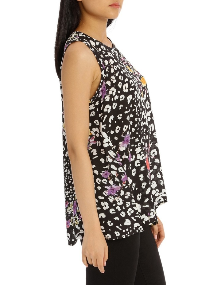 Black Animal Floral High Low Swing Top image 2
