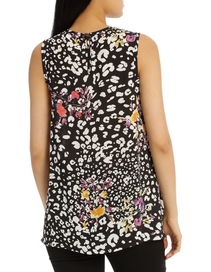 Black Animal Floral High Low Swing Top image 3
